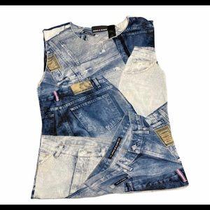 DKNY vintage jeans sheer top